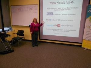 Jennifer Garcia presenting at Small Business Breakfast Club