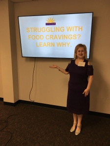 Jennifer Garcia speaking on managing food cravings